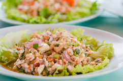 Spicy fish salad Stock Images