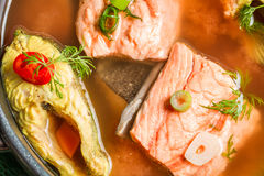 Spicy fish soup based on salmon Stock Photography