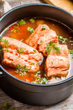 Spicy fish soup made ​​of salmon and spiced with dill Royalty Free Stock Photos