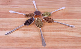 Spicy Flavours. Six different spice seeds in silver spoons on a wooden chopping board Royalty Free Stock Photography