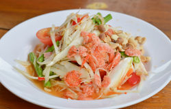 Spicy food. Thai papaya salad hot and spicy ,mixed  vegetable and  dried salted prawn Stock Photo