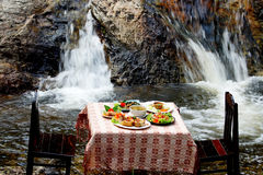 Spicy food set at waterfall Stock Images