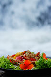 Spicy food set at waterfall Royalty Free Stock Photography