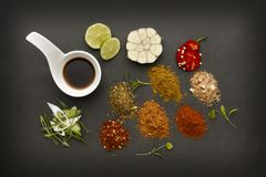 Spicy and fresh ingredients for hot chilli cuisine stock photo