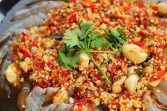 Spicy fresh shrimp - asia food Royalty Free Stock Images