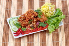 Spicy fried chicken salad Yum Kai Zap in Thai. As spicy chicken salad,chili,tomato,red onion,roasted rice,dried chili ,Chinese cabbage,lettuce,peppermint Royalty Free Stock Image