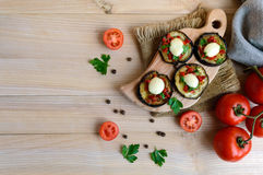 Spicy fried eggplant slices with red pepper, garlic, herbs and mozzarella. Royalty Free Stock Images