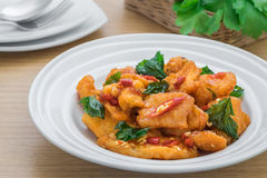 Spicy fried fish with basil (Pad kra prao pla), Thai food Stock Images