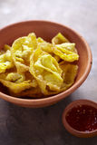 Spicy fried gyoza. And dip in thailand Royalty Free Stock Photo