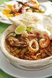 Spicy fried noodle with seafood Stock Image