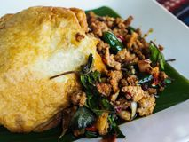 Spicy fried pork with basil leaves and egg.  stock photography