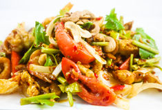 Spicy fried pork skin and cashews salad. Thai Food - soft focus Stock Image