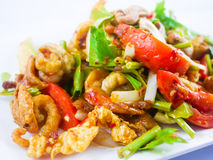 Spicy fried pork skin and cashews salad. Thai Food - soft focus Royalty Free Stock Photography