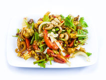 Spicy fried pork skin and cashews salad. Thai Food - soft focus Royalty Free Stock Photo