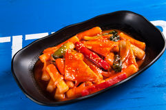 Spicy fried rice cake Stock Photos
