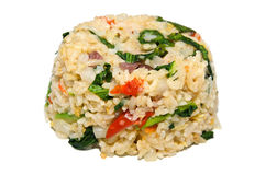 Spicy fried rice with chinese broccoli and pork Stock Photography