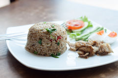 Spicy fried rice with fried fish with salted egg Royalty Free Stock Images