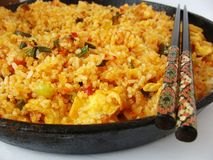 Spicy fried rice. Thai fried rice with chili and basil Stock Image