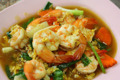 Spicy fried seafood, shrimp, squid. Royalty Free Stock Photography