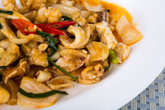 Spicy fried squid Stock Images