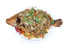 Spicy Fried Thai Red Tilapia Fish Salad Royalty Free Stock Image