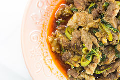 Spicy Fried Venison. On white background Royalty Free Stock Image