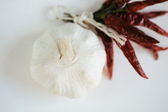 Spicy garlic and hot pepper Stock Image