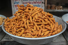 Spicy Gathiya. Dry snacks called Spicy Gathiyafrom Gujarat, India. Its fried snack made from stuffing and gram flour stock photos