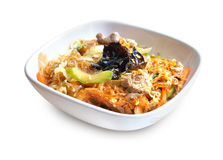 Spicy glass noodles with beef, vegetables and eggs Stock Photography