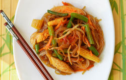 Spicy glass noodles with chicken, green beans, carrots, corn and soy sprouts Stock Images