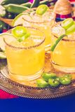 Spicy margarita. Spicy grapefruit margarita cocktail garnished with lime and jalapenos Royalty Free Stock Image