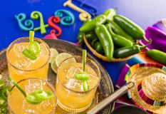 Spicy margarita. Spicy grapefruit margarita cocktail garnished with lime and jalapenos Stock Image