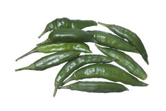 Spicy green chili peppers Stock Images