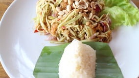 Spicy Green Mango Salad With Sticky Rice stock footage