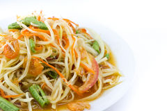 Spicy green papaya salad. Thai cuisine Royalty Free Stock Photos
