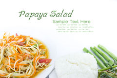 Spicy green papaya salad. Thai cuisine Royalty Free Stock Images