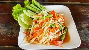 Spicy green papaya salad, seafood samui. This is spicy green papaya salad, seafood samui Stock Photography