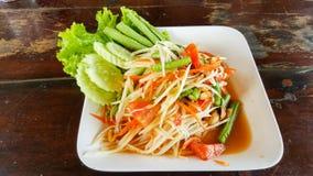 Spicy green papaya salad, seafood samui. This is spicy green papaya salad, seafood samui Stock Photos