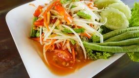 Spicy green papaya salad, seafood samui. This is spicy green papaya salad, seafood samui Stock Image