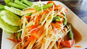 Spicy green papaya salad, seafood samui. This is spicy green papaya salad, seafood samui Royalty Free Stock Image