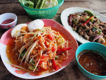 Spicy green papaya salad, spicy duck salad. (traditional thai food stock image