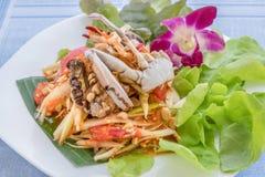 Spicy green papaya salad. Traditional thai cuisine spicy green papaya salad with crab stock image