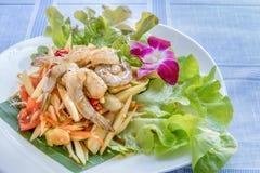 Spicy green papaya salad. Traditional thai cuisine spicy green papaya salad with shrimp stock images