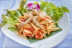 Spicy green papaya salad. Traditional thai cuisine spicy green papaya salad with shrimp royalty free stock photos
