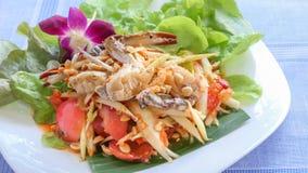 Spicy green papaya salad. Traditional thai cuisine spicy green papaya salad with crab royalty free stock image