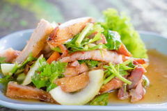Spicy grill pork salad Royalty Free Stock Images