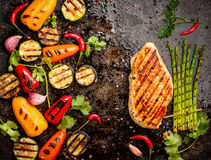 Spicy grilled chicken breast royalty free stock images