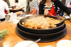 Spicy grilled chicken Korean food Dakgalbi Stock Images