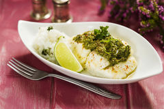 Spicy grilled cod Stock Photo