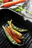 Spicy grilled indian hot cuisine peppers ingredients in kitchen Stock Photography